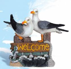Twin Seagulls With Welcome Sign