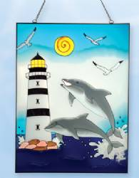 Stain Glass Lighthouse Dolphin